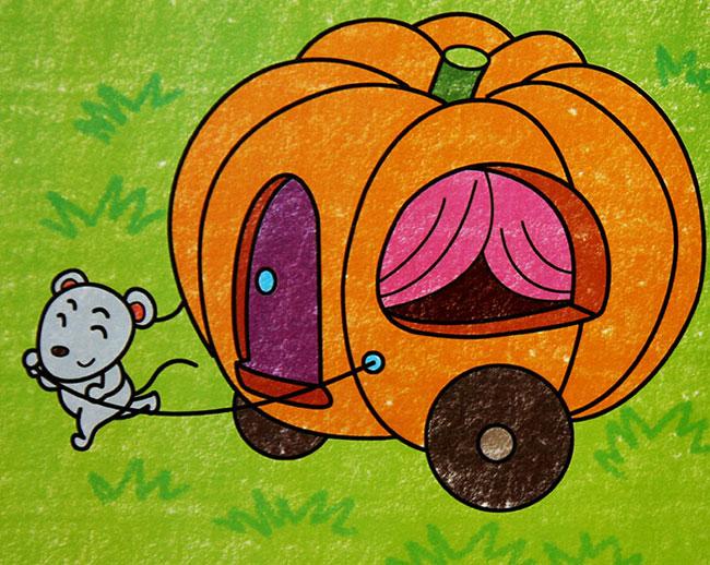 儿童油棒画作品:小老鼠的南瓜房子