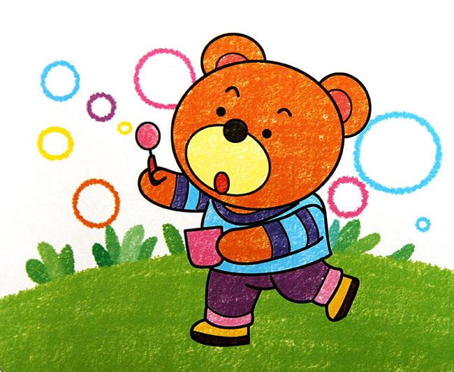 童油棒画作品 小熊玩泡泡