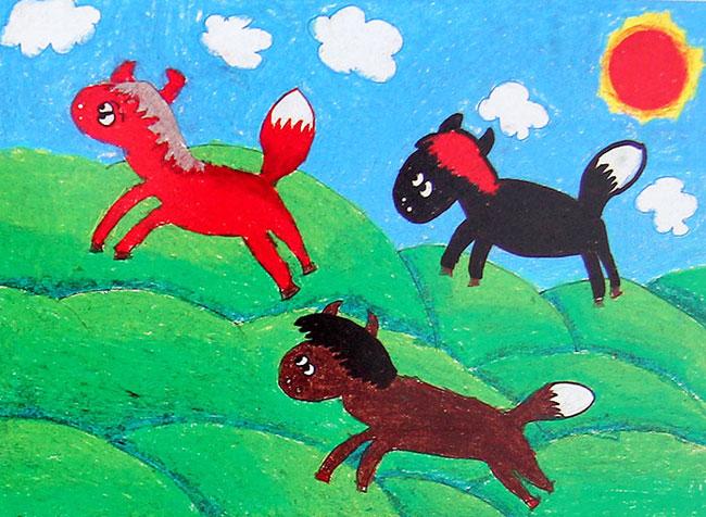 奔跑的骏马简笔画头像 八匹奔跑的骏马图片 这是一匹奔跑中的骏马