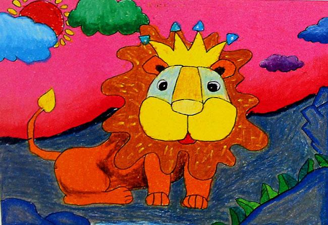 儿童油棒画作品:狮子7