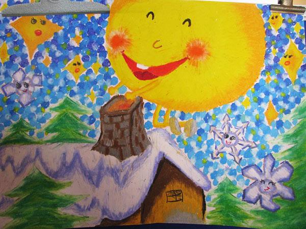 儿童油棒画:天空中的太阳