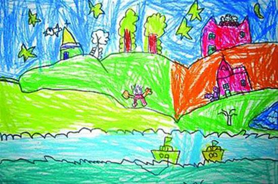 儿童彩笔画 美丽的日子