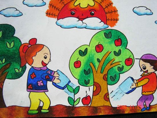 儿童彩笔画:我们来浇花