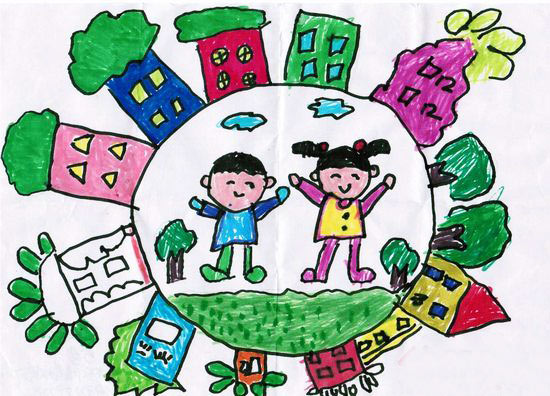 儿童彩笔画:幸福生活,画画网