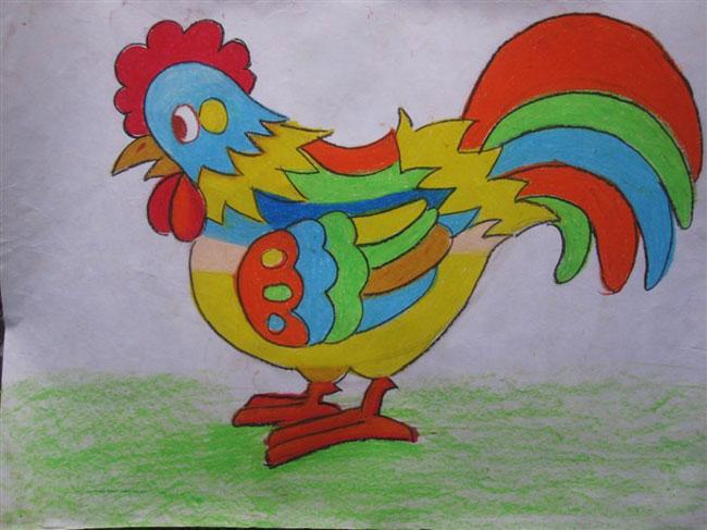 儿童彩笔画教学 彩色公鸡