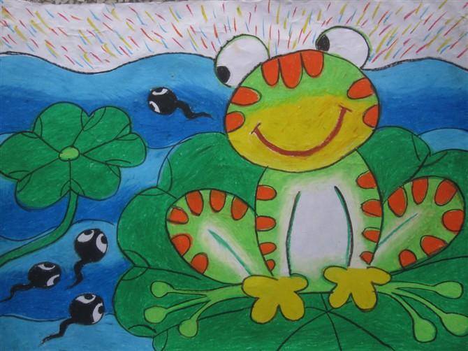 儿童彩笔画教学资料 彩色青蛙