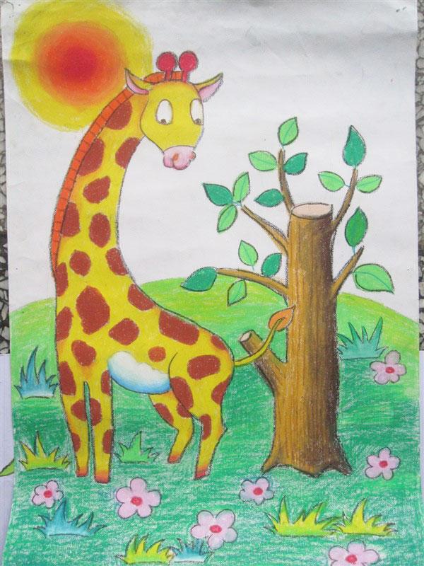 儿童彩笔画教学 可爱梅花鹿