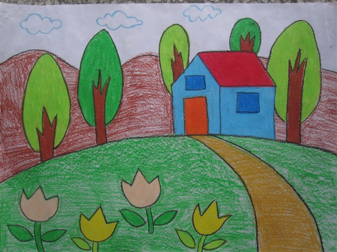 儿童彩笔画教学 美丽的家