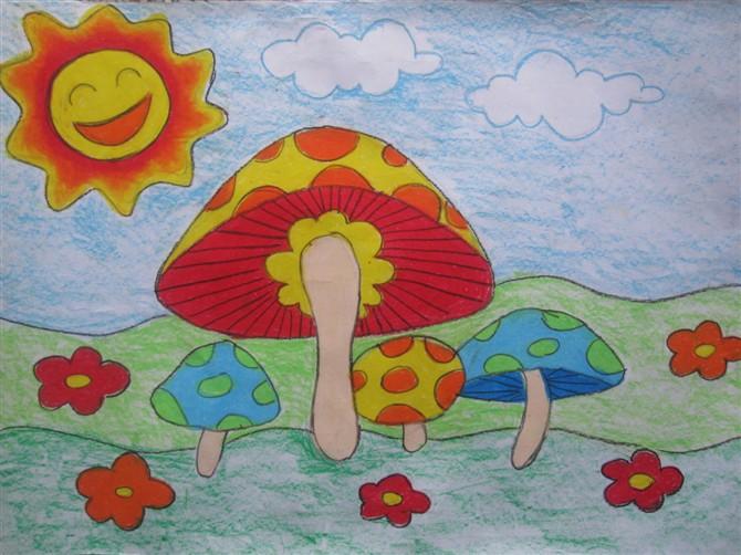 彩笔画作品 漂亮的蘑菇