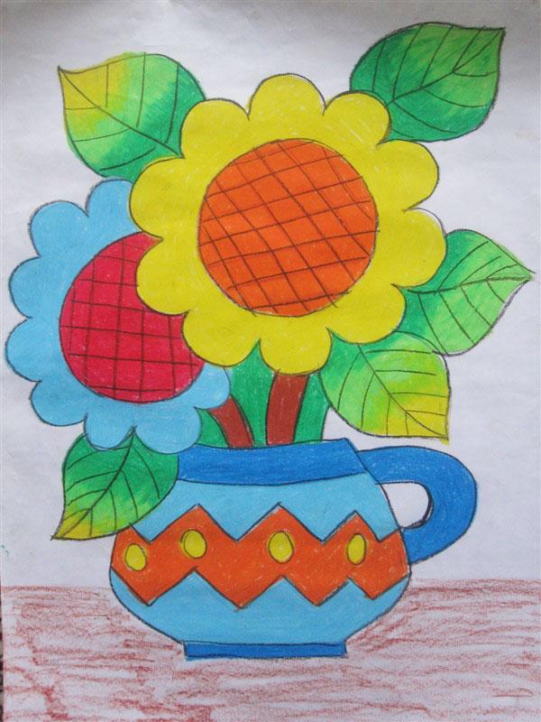 儿童彩笔画教学资料:向日葵
