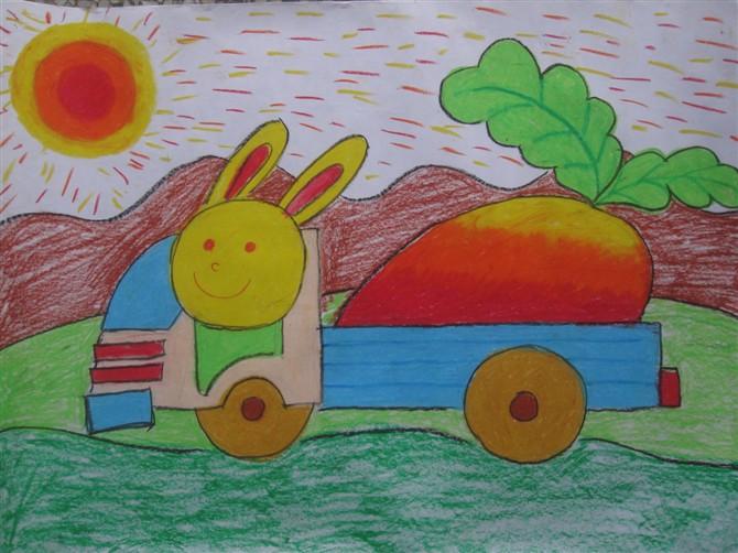 儿童彩笔画教学 小兔开车