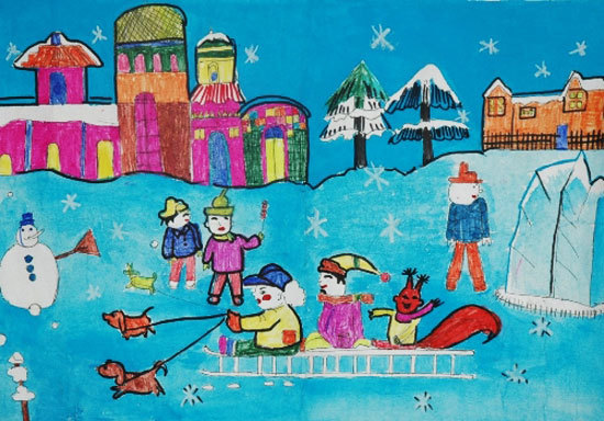 儿童彩笔画作品 狗拉雪橇