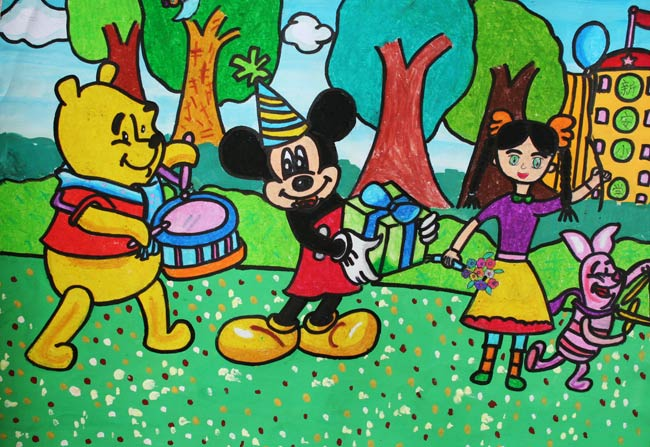 儿童彩笔画作品 维尼和米老鼠