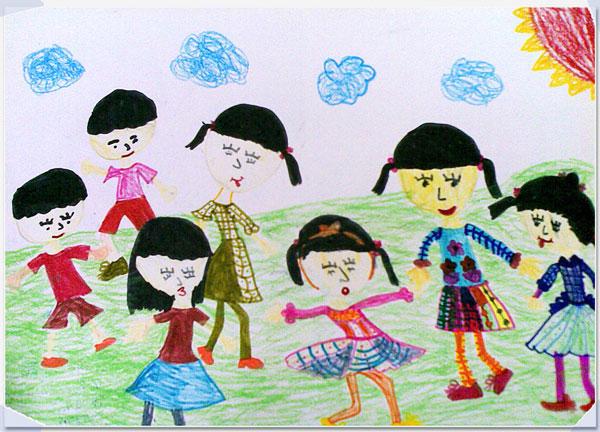 儿童彩笔画作品 新年快乐