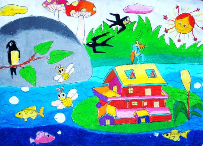 儿童彩笔画作品:春天的燕子