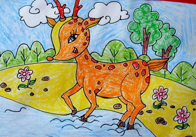 儿童油棒画作品:一只小鹿