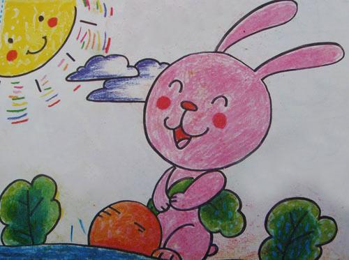 儿童彩笔画作品 小兔拔萝卜
