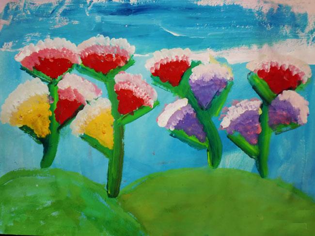 儿童水粉-儿童水粉画作品 多彩的花