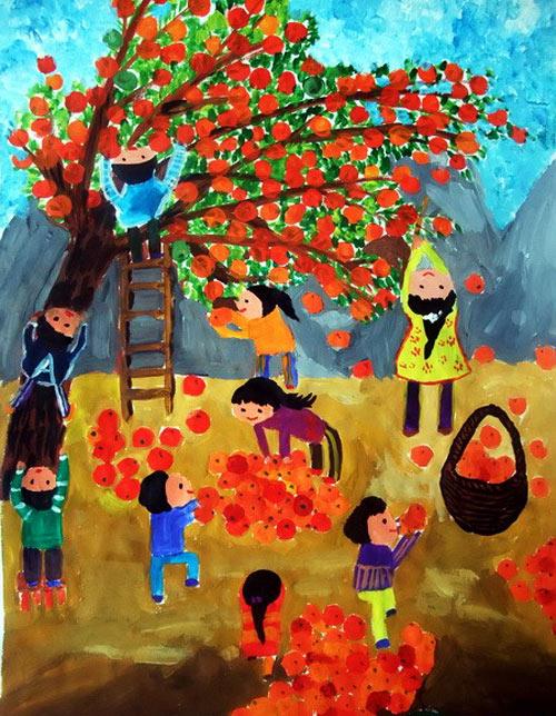 儿童水粉画作品 丰收的秋天