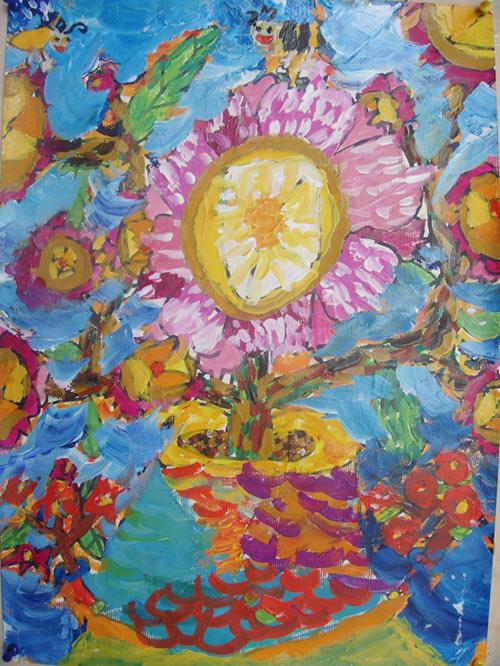 儿童水粉画作品:花朵,画画网