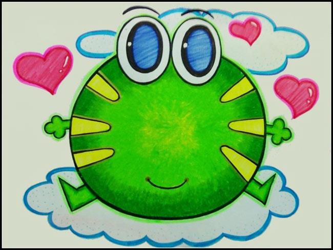 大眼青蛙│儿童彩笔画作品