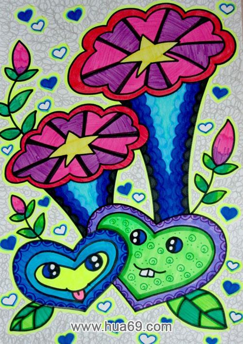 喇叭花│儿童彩笔画作品