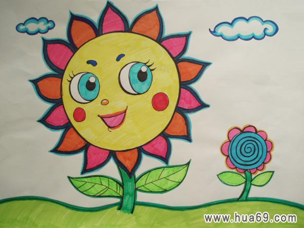 儿童彩笔画作品:向日葵图片