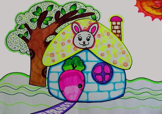 儿童彩笔画作品苹果房子幼儿彩笔画 儿童学幼儿彩