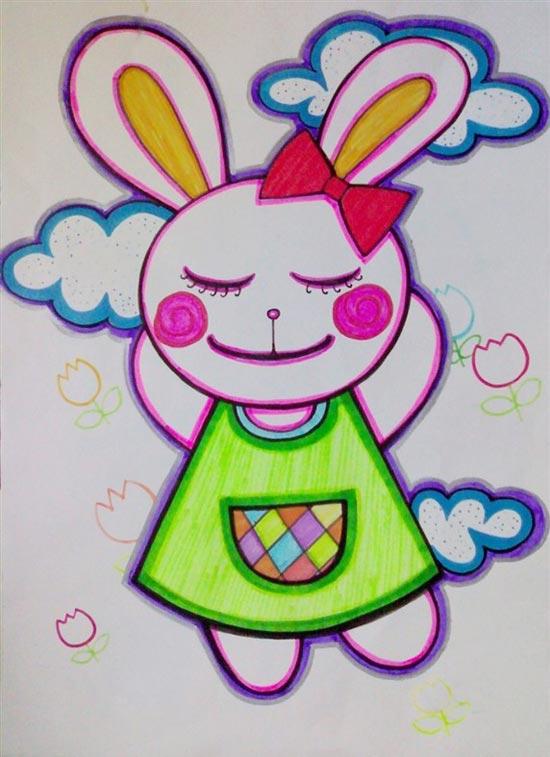 儿童彩笔画图画作品图片