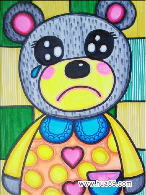 悲伤的小熊│儿童彩笔画作品