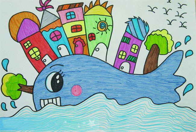 鲸鱼上建房子│儿童彩笔画作品