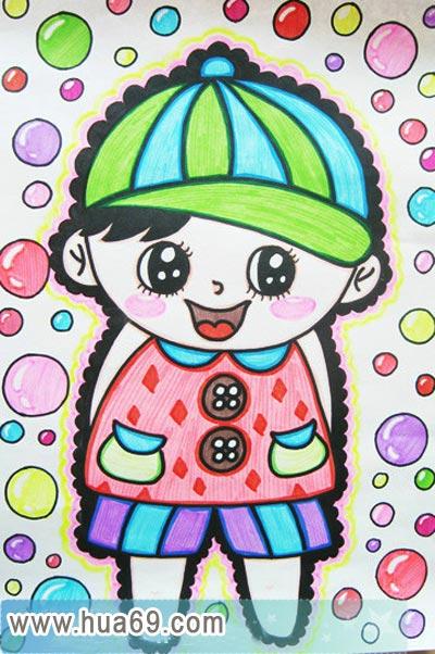 可爱的小男孩│儿童彩笔画作品