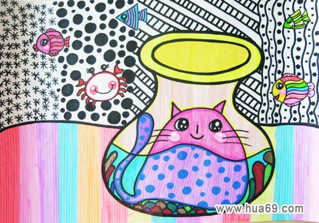 儿童彩笔画 动物园展示