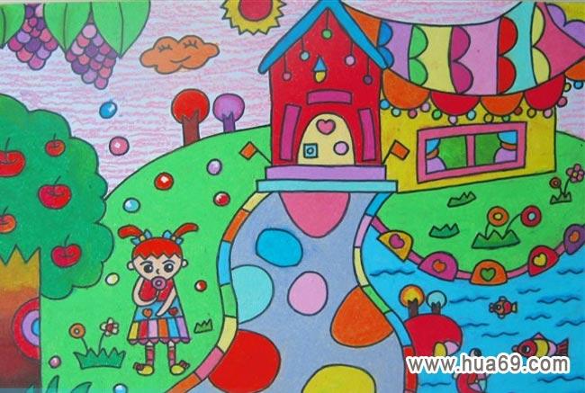 我的校园水彩笔画图-上学的路上画画图片-儿童彩笔画作品 棒棒糖女孩 下一个图片 儿童彩笔