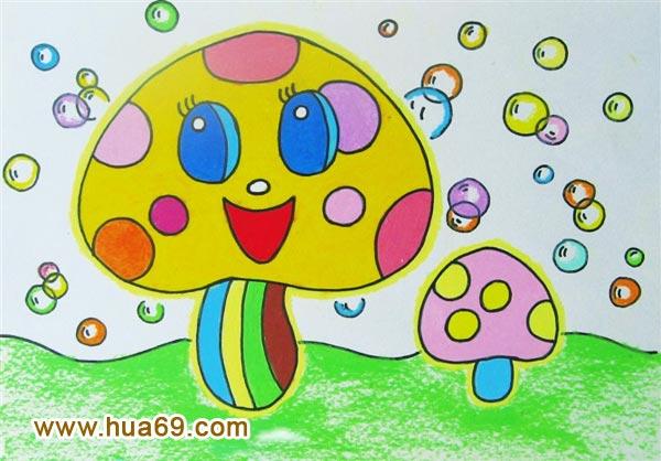 儿童油棒画作品:蘑菇娃娃,画画网