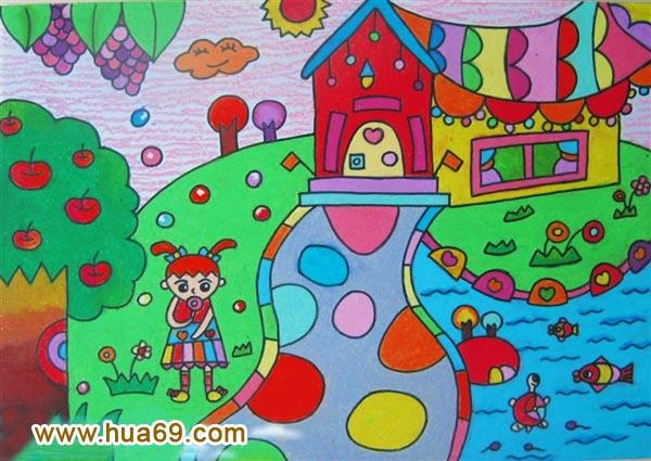 幼儿绘画作品 家乡秋色 儿童画秋天的图画