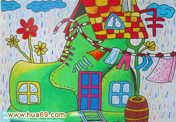 儿童油棒画作品:鞋子房