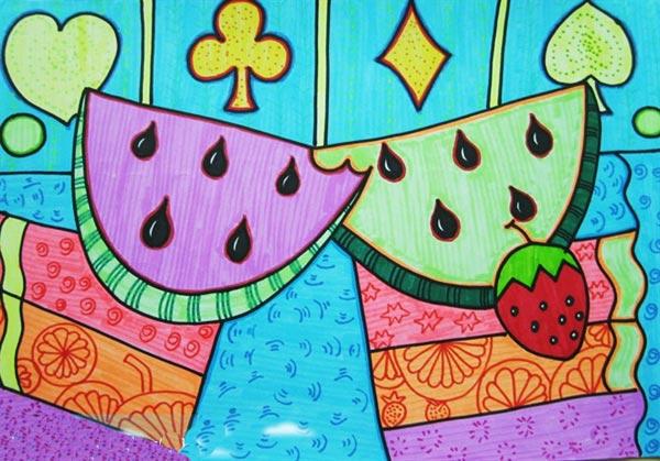 儿童彩笔画作品 奇怪西瓜