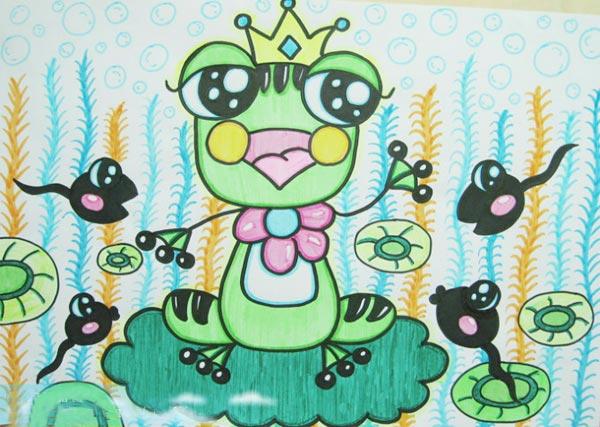 儿童彩笔画作品 青蛙王子