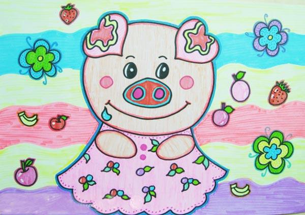 儿童彩笔画作品 猪小姐