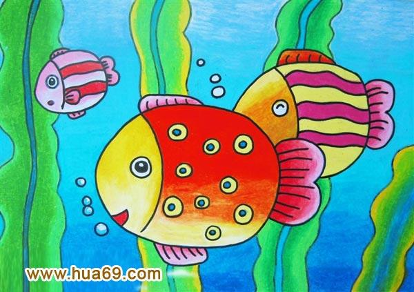 儿童彩笔画作品 鱼和海藻