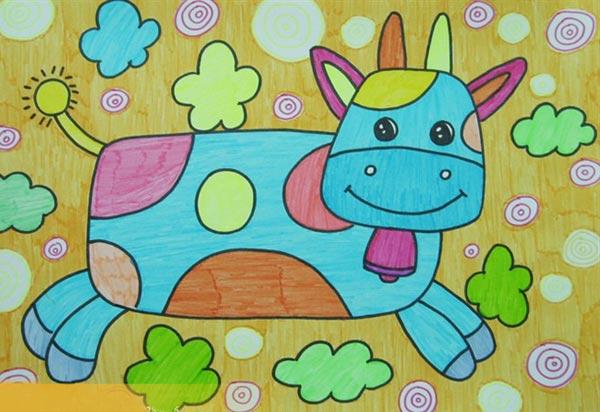 儿童彩笔画作品 奔跑的小牛