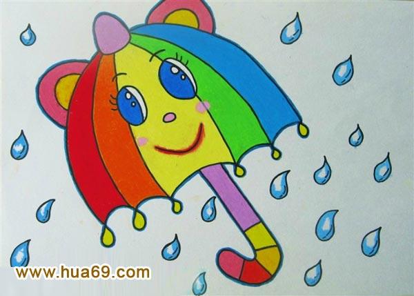儿童彩笔画作品 可爱小雨伞