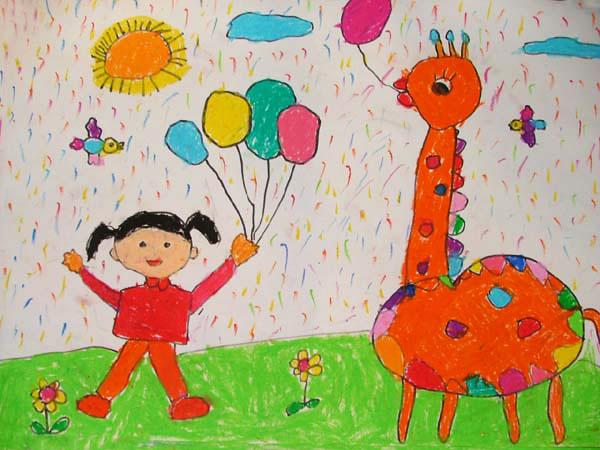 儿童彩笔画作品:长颈鹿和我一起玩