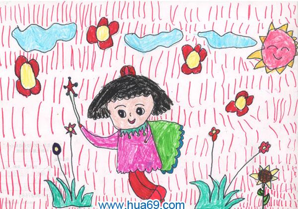 儿童彩笔画作品:可爱小女孩