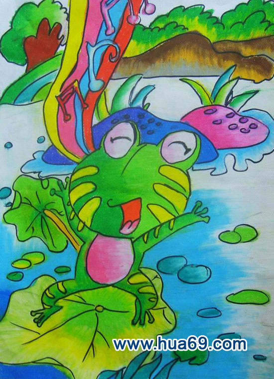儿童彩笔画作品:快乐的青蛙