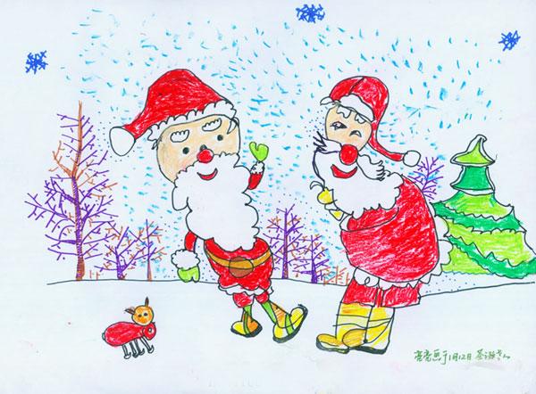 圣诞老人 儿童画   次   zingyi; 儿童彩笔画作品:圣诞老人的故事