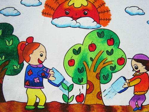 儿童彩笔画作品 我给大树浇浇水
