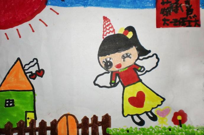 儿童彩笔画作品:有翅膀的女孩