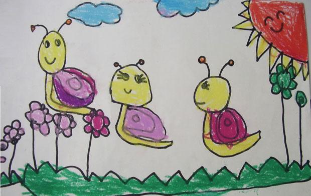 儿童彩笔画作品:可爱的蜗牛